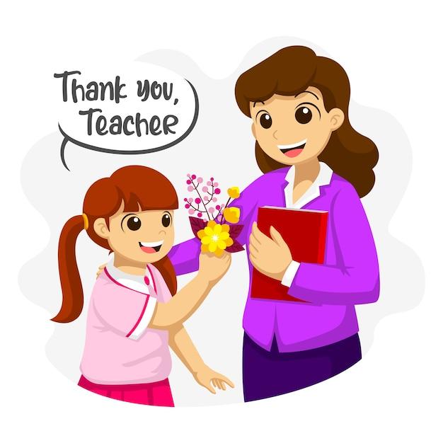 ありがとう、先生。女生徒が先生に花をあげる。先生の日のフラットのイラスト。 Premiumベクター