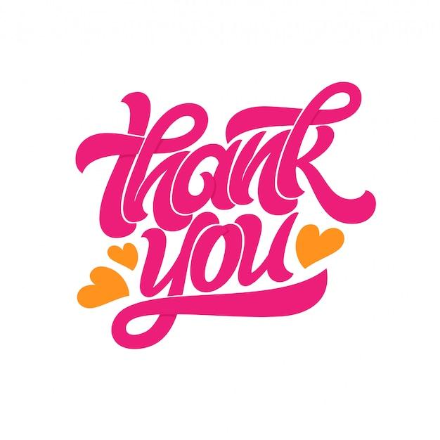 타이포그래피 감사합니다. 흰색 바탕에 하트와 필기 글자 로고입니다. 엽서, 배너, 초대장, 인사말 카드에 대한 비문. 타이포그래피와 그림입니다. 프리미엄 벡터