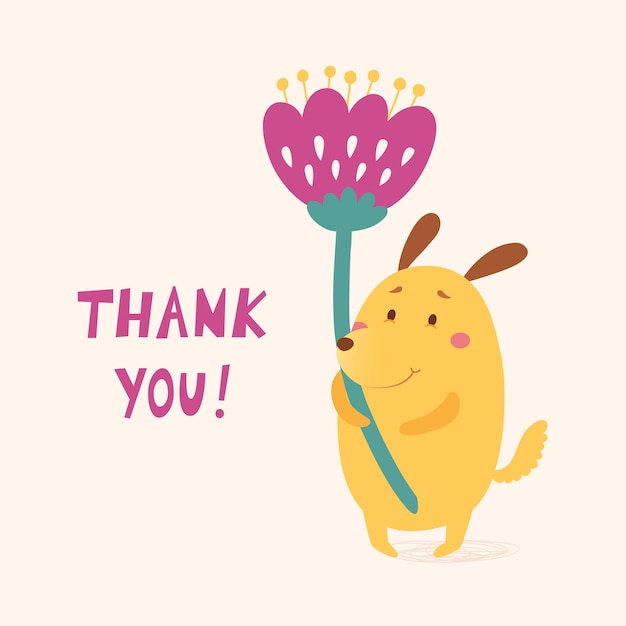 Thank you vector card with cute dog Premium Vector