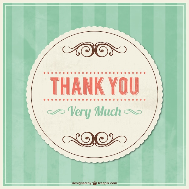thank you vintage card with ornaments vector free download