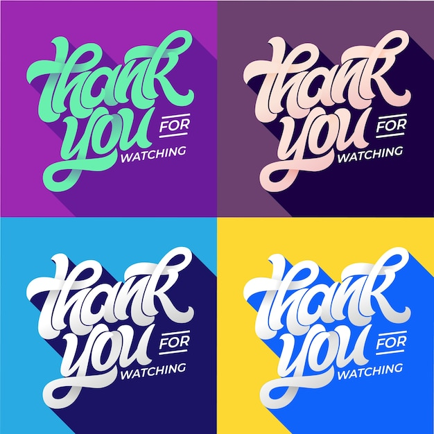 Thank you for watching typography. set of editable banners for social media. flat style lettering with long shadow in trending colors. template for banner, poster, message, post. Premium Vector