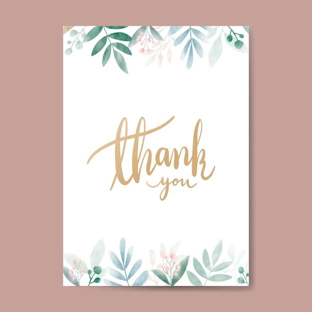 free vector  thank you watercolor card design vector