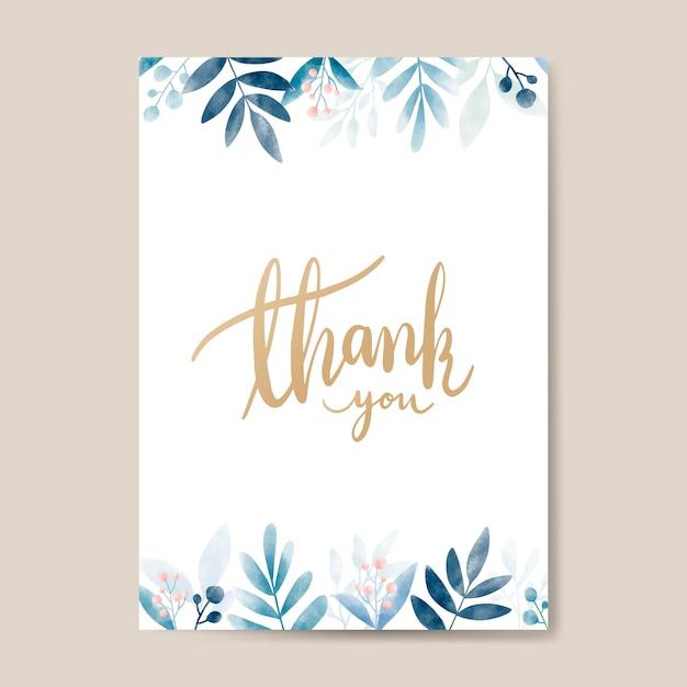 Thank you watercolor card design vector Free Vector