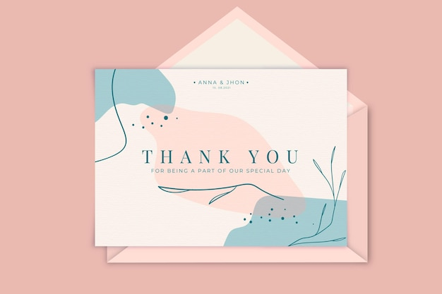 Thank you wedding card template Free Vector
