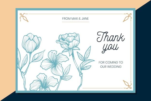 Thank you wedding card Free Vector