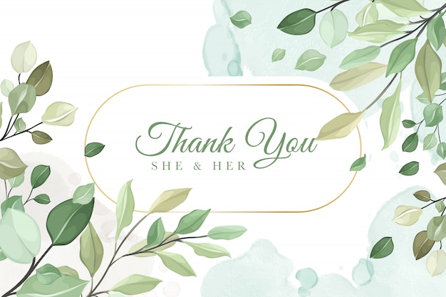 Thank you wedding invitation card in green leaves Premium Vector