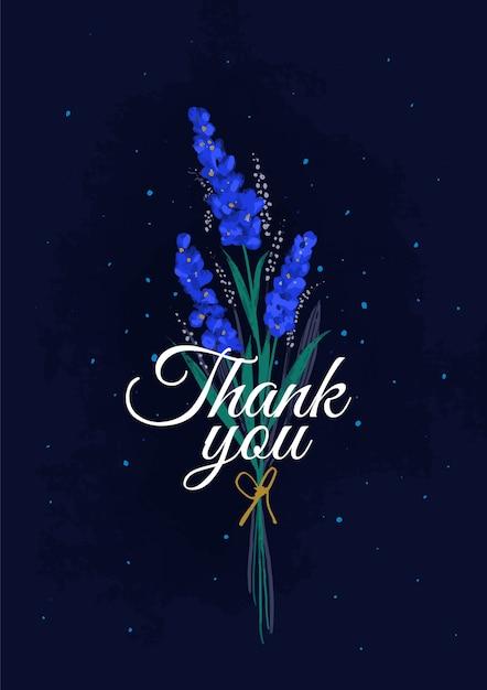 青い花の花束でありがとう Premiumベクター