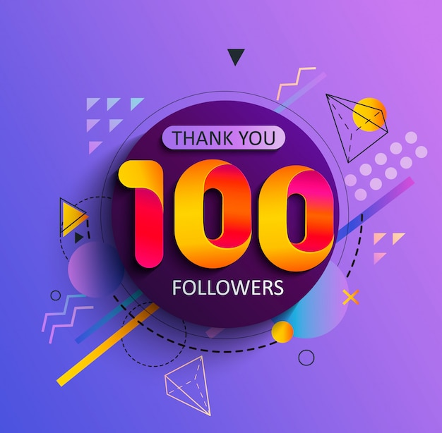 Thanks for the first 100 followers Premium Vector