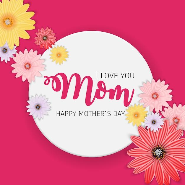 お母さん、ありがとうございました。花でかわいい母の日。図 Premiumベクター