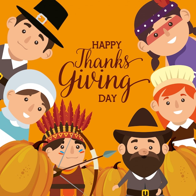 Thanks giving card with pilgrims and natives Free Vector
