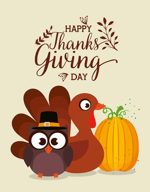 Thanks giving card with turkey and owl Free Vector