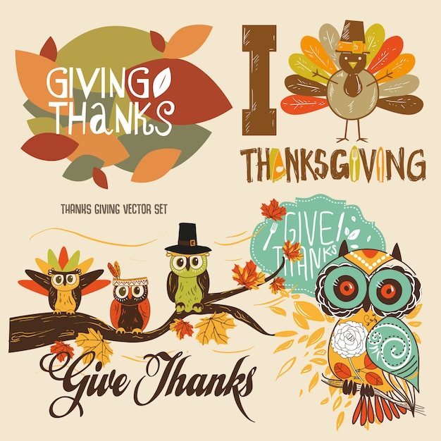 Thanks giving cute illustration vector set Premium Vector