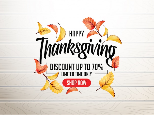 Thanks giving design illustration with 3d realistic leaves Premium Vector