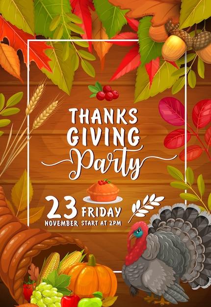 호박, 크랜베리와 칠면조 파이가있는 추수 감사절 파티. 추수 감사절 축하 초대장, 풍요의 뿔, 단풍 나무, 자작 나무, 포플러 및 자르기 오크 잎이있는 만화 카드 프리미엄 벡터