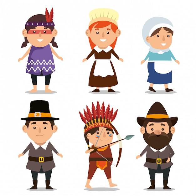 Thanks giving  with pilgrims and natives Free Vector