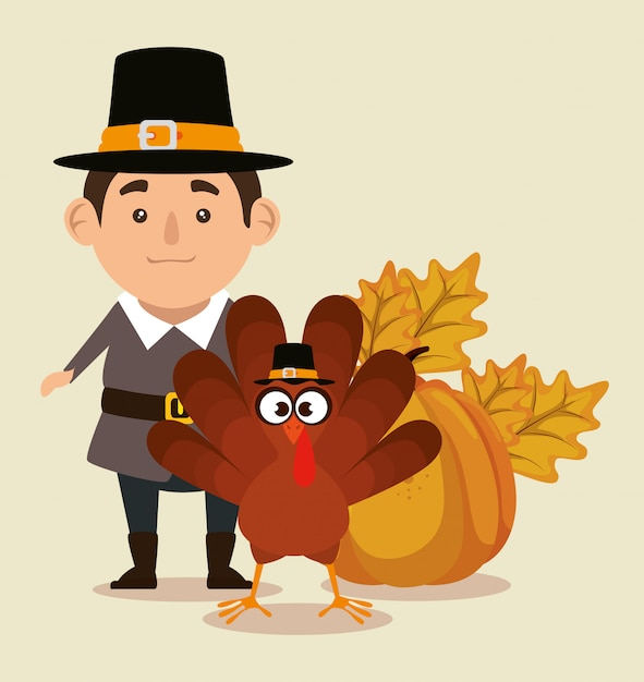 Thanks giving with turkey and pilgrim Free Vector