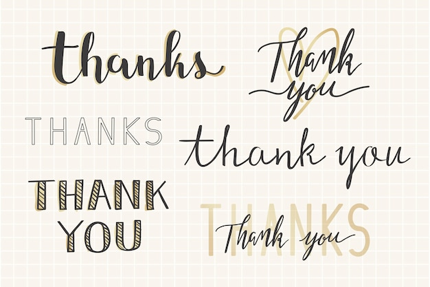 Thanks handwritten typography set Free Vector