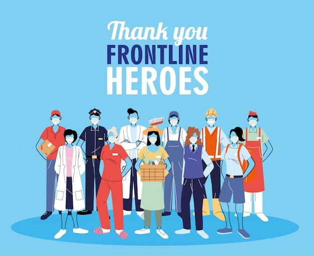 Спасибо работникам фронта. разные люди разных профессий носят защитные маски. Premium векторы