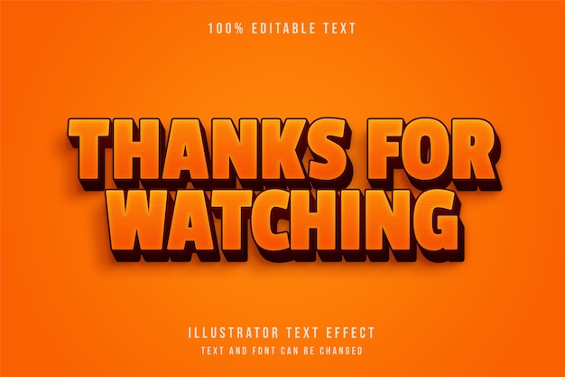 Thanks for watching,3d editable text effect yellow gradation red retro text effect Premium Vector