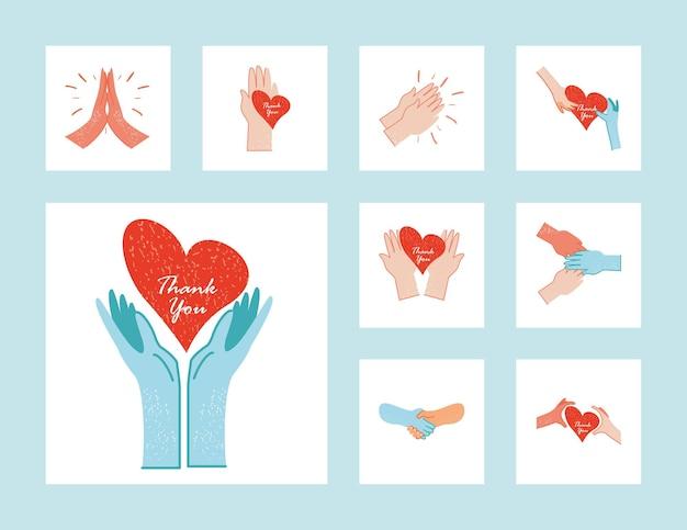 Спасибо, врачи и медсестры, руки с иллюстрацией коллекции сердец Premium векторы