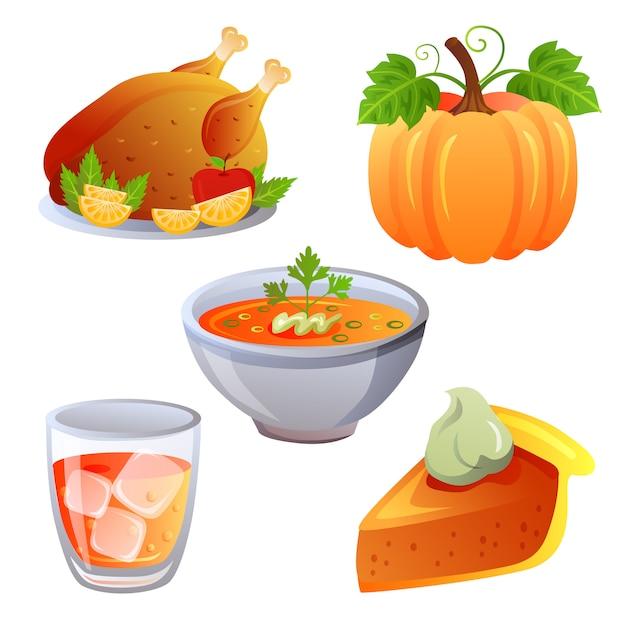 Thanksgiving autumn food icon collection set Premium Vector