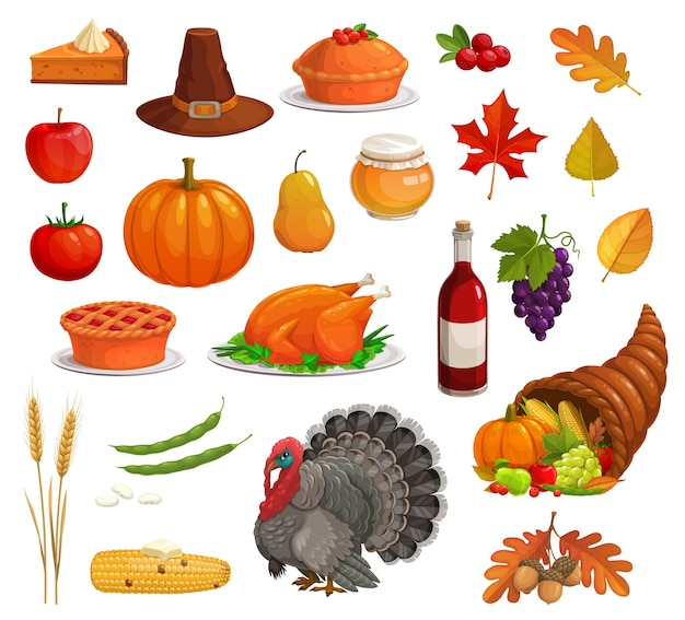 Premium Vector Thanksgiving Autumn Holiday Set With Cartoon Turkey Food And Pilgrim Hat Harvest Pumpkin Apple And Pie Cornucopia Fallen Leaves Corn And Grape Acorn Wheat Honey Wine Cranberries