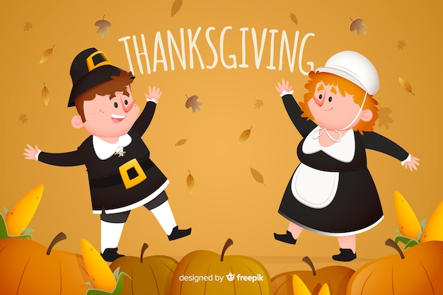Thanksgiving background flat design concept Free Vector