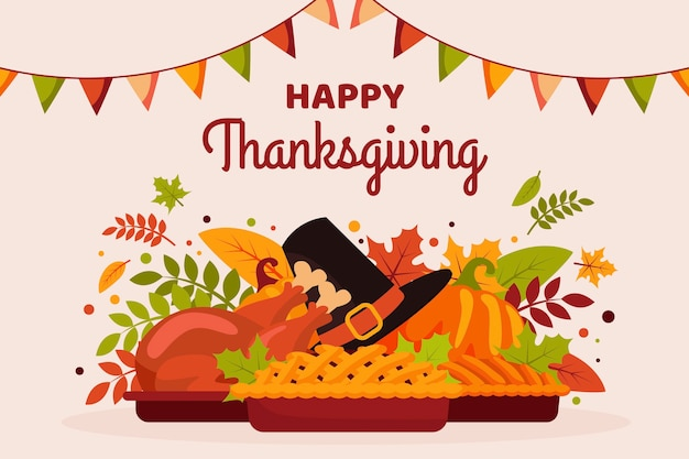Thanksgiving background in flat design Premium Vector