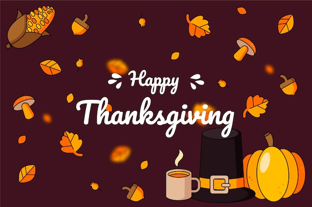 Thanksgiving background in flat design Free Vector