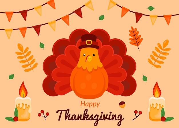 Thanksgiving background in flat design Premium Vector