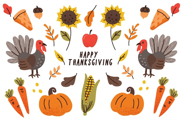 Thanksgiving background in hand drawn Free Vector