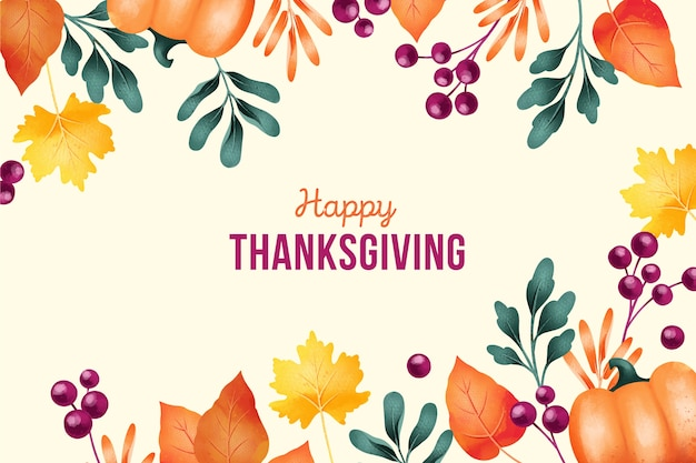 Thanksgiving background in watercolor Free Vector
