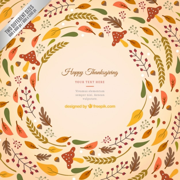 Thanksgiving Background Wih Leaves Free Vector