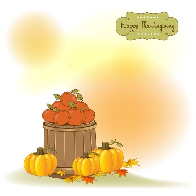 Thanksgiving background with apples and\ pumpkins
