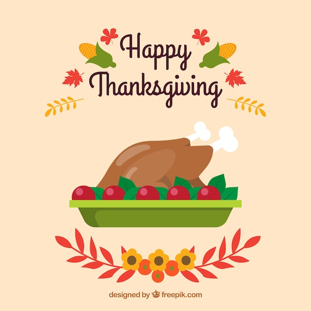 Thanksgiving background with delicious\ turkey