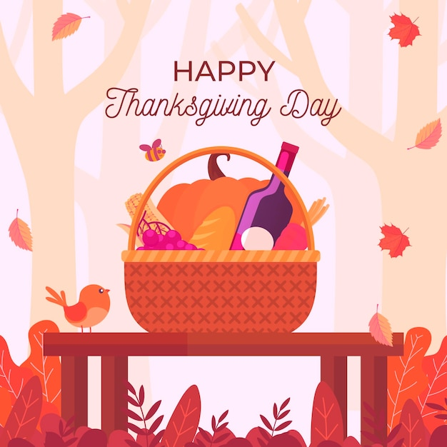 Thanksgiving background with food basket Free Vector