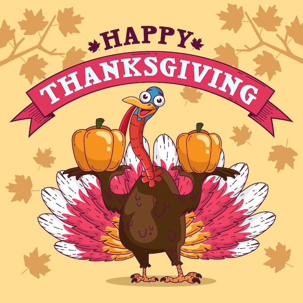 Thanksgiving background with turkey and greeting Premium Vector