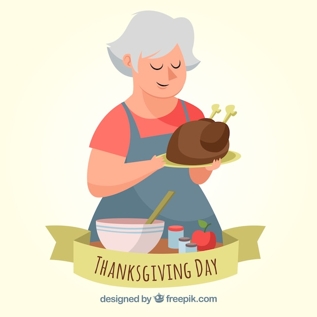 Thanksgiving background with woman cooking\ turkey