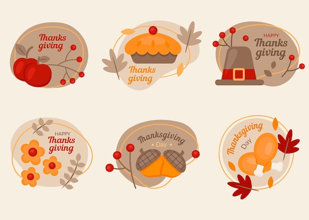 Thanksgiving badge collection in flat design Free Vector