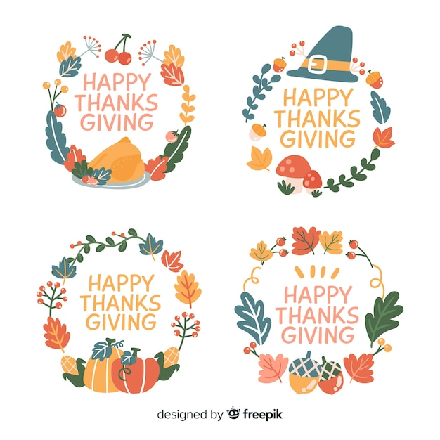 Thanksgiving badge collection hand drawn style Free Vector