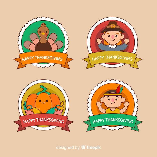 Thanksgiving badge with character avatars Free Vector