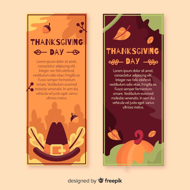 Thanksgiving banners in flat design Free Vector