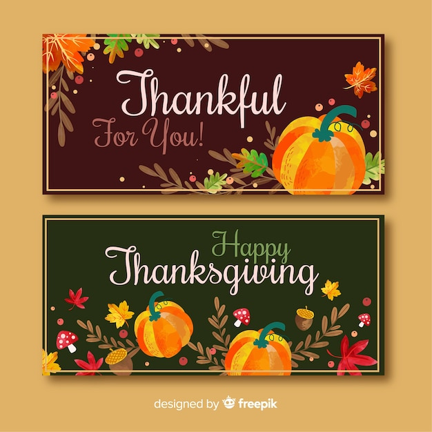Thanksgiving banners in flat design Vector | Free Download