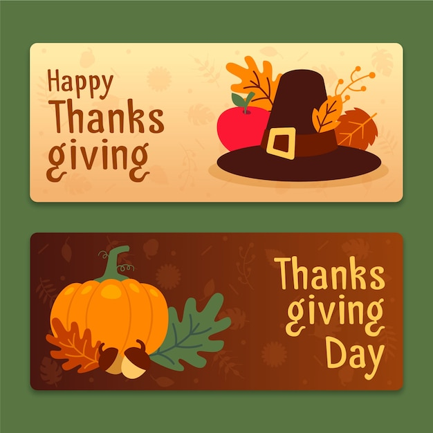 Thanksgiving banners in flat design | Free Vector