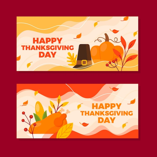 Premium Vector | Thanksgiving banners in flat design
