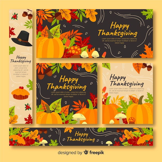 Thanksgiving banners theme with flat design Free Vector