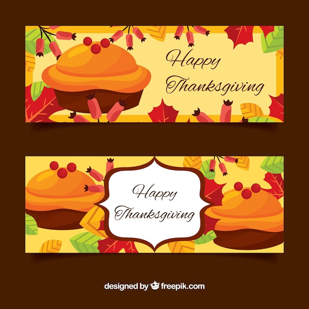 Thanksgiving banners with cakes