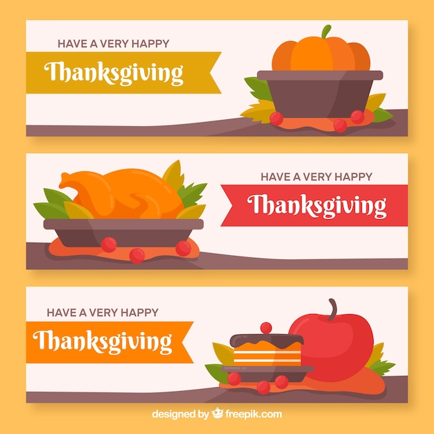 Thanksgiving banners with delicious food