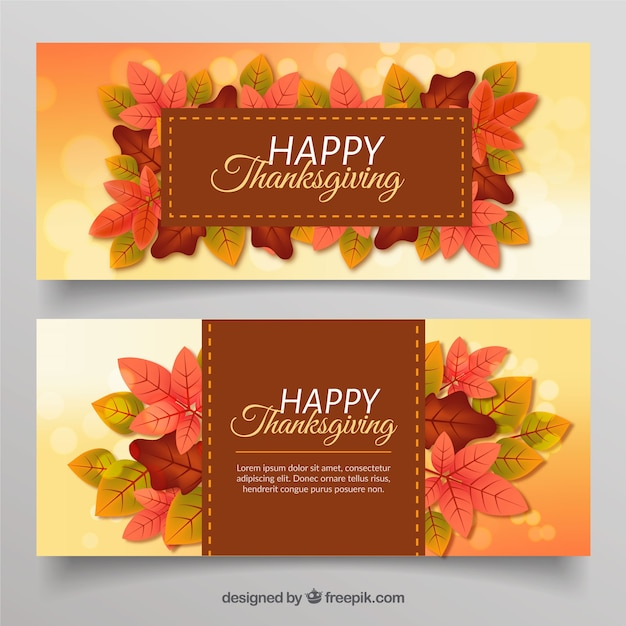 Thanksgiving banners with leaves