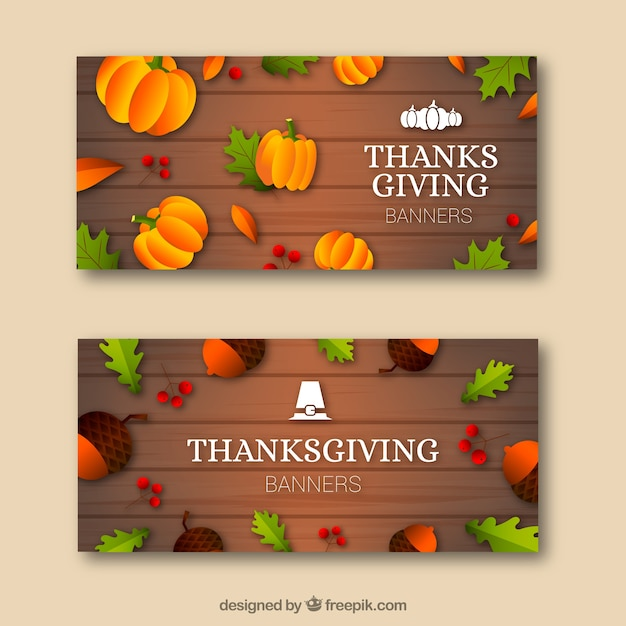 Thanksgiving banners with pumpkins
